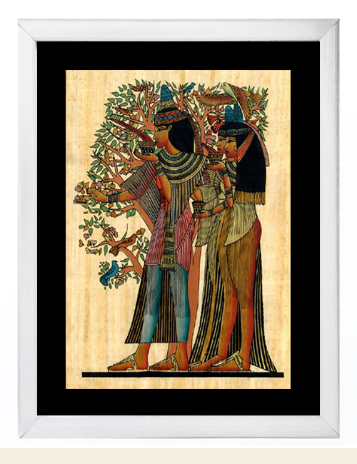 Egyptian Tree of Life Papyrus Painting