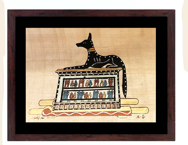 Anubis Papyrus Painting Framed