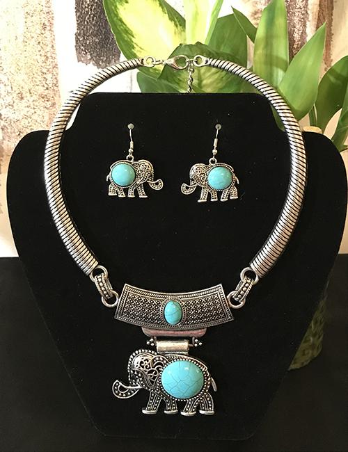 Composite Turquoise Elephant Set
