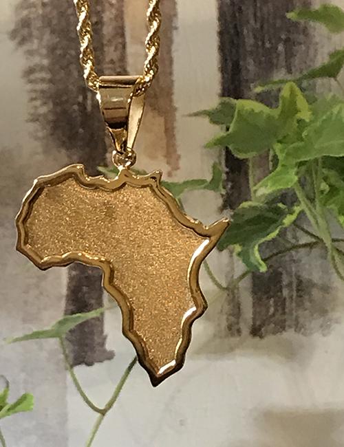 Africa 14kt Gold Large Necklace
