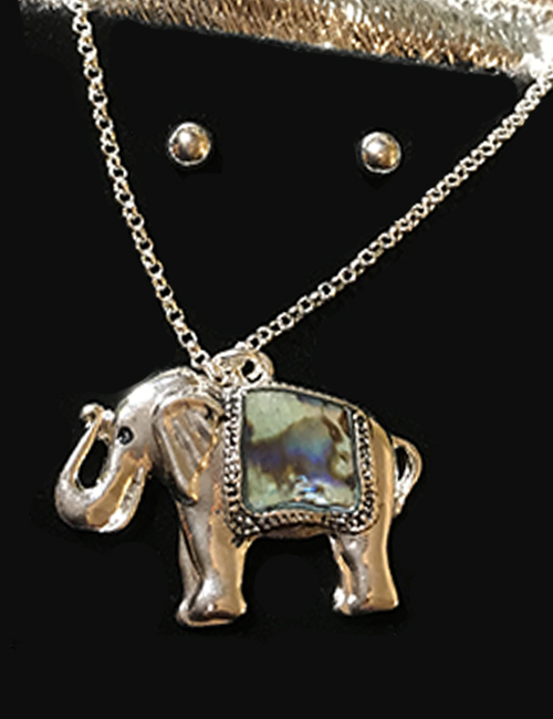 Magical Abalone Elephant Necklace and Earring Set