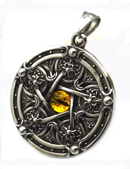 Stainless Steel Pentacle w Gold Cat Eye